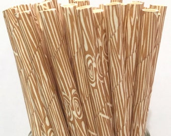 2.85 US Shipping -Wood Grain Paper Straws - Wood Grain Straws - Wood Grain Cake Pop Sticks - Drinking Straws