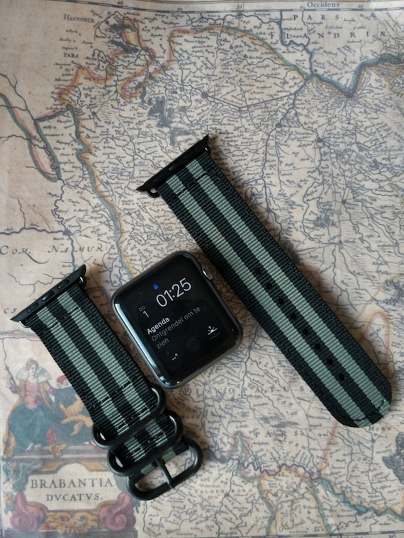 Nato/zulu strap 2-piece for Apple watch / Apple watch band (Black / Grey), Free Shipping Worldwide!