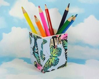 Butterflies Pen Pot, Personalised Pen Pot, Gift for Her, Butterfly Gift Idea, Pen Holder, Cute Butterfly Gift, Butterflies, Wooden Pen Pot