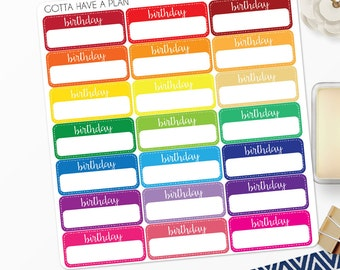 Planner Stickers Birthday Reminder Label for Erin Condren, Happy Planner, Filofax, Scrapbooking