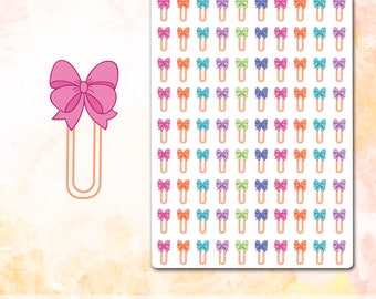 Bow Paper Clip Stickers, Bow Stickers Planner Stickers, Pink Bow Stickers, Reminder Stickers, Reminder Planner Stickers, Reminder ECLP