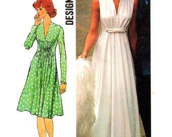 70s Simplicity 6672 Designer Evening Dress in Two Lengths with Deep V-Neckline with or without Sleeves, Trimmed Sewing Pattern Size 10