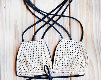 Beishe Nude Black Bikini Top Strappy 3-way  Straps Swimwear Bathing Suit