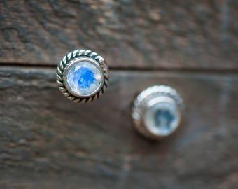 Moonstone Stud Earrings,Rainbow Moonstone Studs,Moonstone Jewelry,moonstone earrings,Rainbow Moonstone earrings,sterling silver stud earring