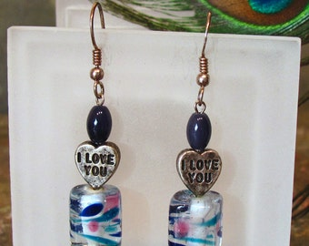 "Valentine Earrings ~ Candy Heart Dangle Earrings with Sweet Fused Glass Beads ~ ""I love you"" and ""Kiss me"" - Sterling Silver"