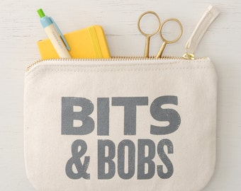 Small Zipper Purse - Coin Pouch - Small Cosmetics Bag - Small Clutch - Bits & Bobs Little Canvas Pouch - Alphabet Bags