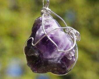 Raw Amethyst Stone Sterling Silver Wired Pendant Necklace on a Sterling Silver Chain,  February Birthstone