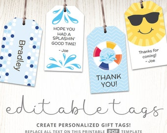 Editable gift tags, gift tag template, favor tags, pool party labels, childrens party labels, hang tags drink labels, party gift ideas, PDF