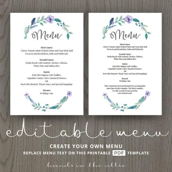 floral wedding menu template printable menu template diy wedding printable editable floral. Black Bedroom Furniture Sets. Home Design Ideas