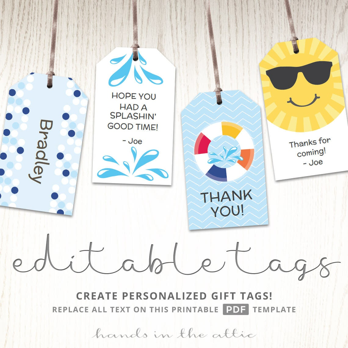Pool Gift Ideas pool party gift idea made with pebblesinc fun in the sun collection created by Editable Gift Tags Gift Tag Template Favor Tags Pool Party Labels Childrens