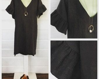 Boxy linen shift dress