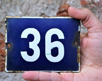 Sign 36 - House Number Plaque - Enamel Number Sign - Street Sign - Door Sign - Door Number - Vintage Outdoor House Number - Address Plaque
