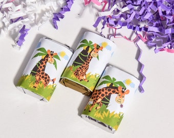 54 Giraffe Labels for Hershey Miniatures, Giraffe Stickers, Giraffe Party Favor, Giraffe 1st Birthday Party Favors, Giraffe Candy Wrappers
