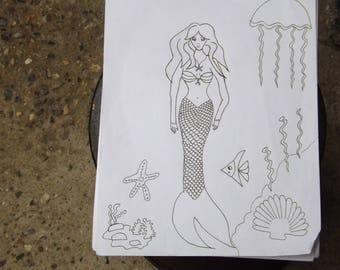 Mermaid in the seabed.  Digital download, page coloring, printable