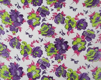 "Dress Fabric, Floral Print, Rayon Fabric, Quilt Material, White Fabric, Home Decor, Sewing Fabric, 46"" Inch Rayon Fabric By The Yard ZBR13"