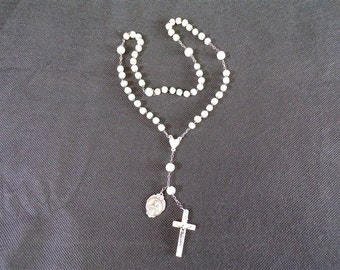 vintage mother of Pearl rosary and metal with religious medal charms object of devotion in Catholic france vintagefr vintage