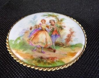 Large vintage brooch in Limoges France porcelain handpainted vintage France vintagefr porcelain brooch vintage costume jewelry fashion