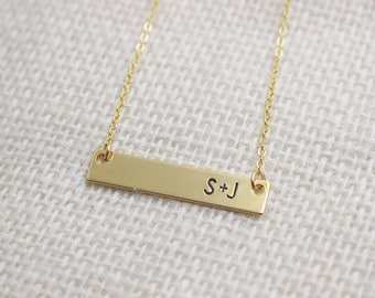Initial Bar Necklace + Gold Bar Necklace + Monogram Jewelry + Graduation Gift + Personalized Name Necklace + Custom Letter Necklace + Dainty