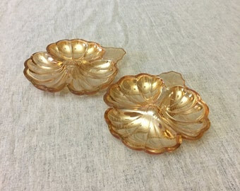 Vintage Jeannette Carnival Glass Clover Candy Dish, Doric Iridescent Marigold 3 Part Dish, Set of 2