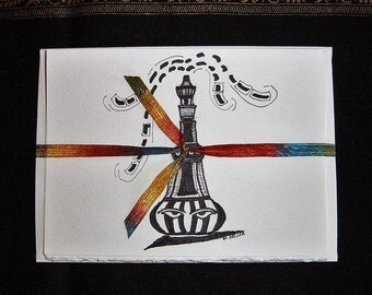 Black & White Genie Bottle Art Greeting Cards, Set of 4 Original Pen and Ink Drawings, Blank Cards with Envelopes