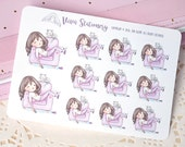 Kawaii Girl Lazy Day, Chill out, Nap on the Couch ~Violet~ For your Life Planner, Diary, Journal, Scrapbook...
