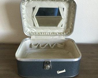 Vintage Train Case; Carousel Train Case; Vintage Luggage; Make Up Case; Blue Train Case; Vintage Suitcase