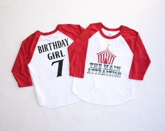 carnival birthday party shirt - the main attraction circus shirt - carnival birthday raglan -  carnival theme  birthday - tee - boy - girl