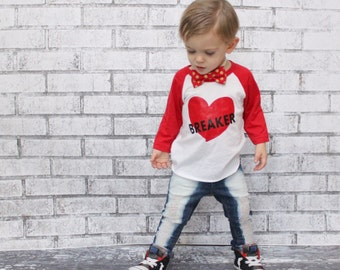 little heartbreaker shirt, boy valentines shirt, valentines day raglan, baseball tee, outfit, top, baby boy, toddler, kids vday shirt