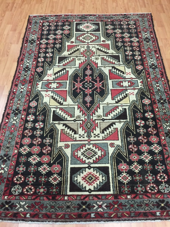 "4'3"" x 6'4"" Antique Persian Hamadan Oriental Rug - 1930s - Hand Made - 100% Wool - Vintage"