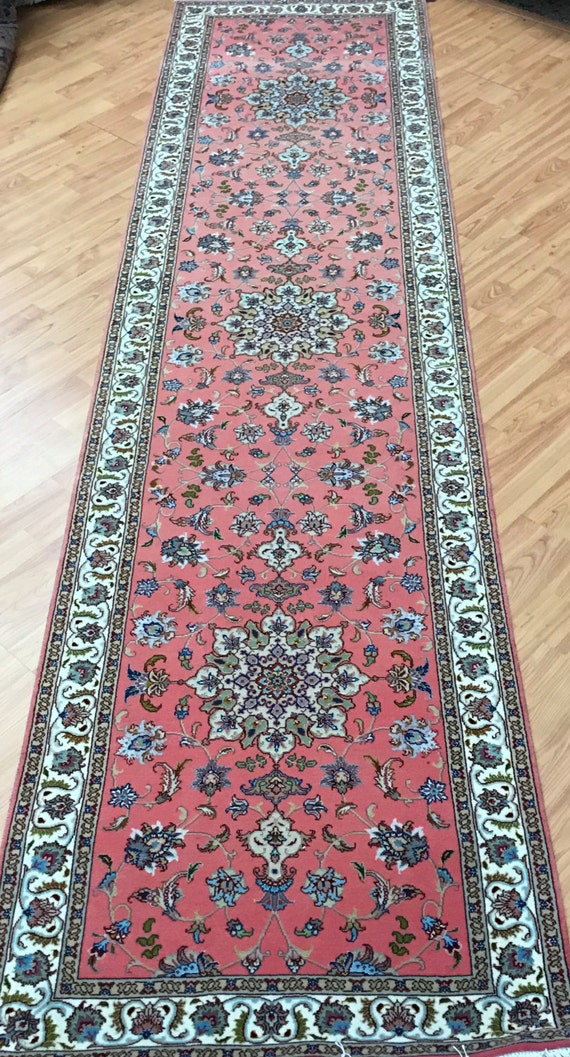 "2'6"" x 10' Persian Tabriz Floor Runner Oriental Rug - 400 KPSI - Hand Made - Wool & Silk Pile"