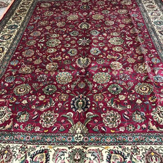 10' x 13' Persian Tabriz Oriental Rug - 1950s - Hand Made - 100% Wool