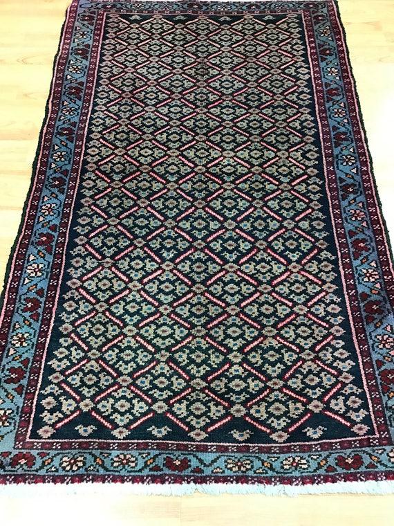 "2'5"" x 3'10"" Antique Persian Hamadan Oriental Rug - 1930s - Hand Made - 100% Wool"