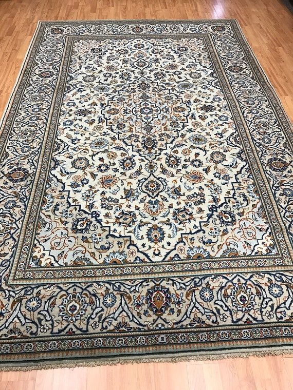 "6'6"" x 10'2"" Persian Kashan Oriental Rug - 1950s - Hand Made - 100% Wool"