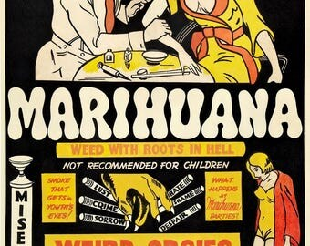 marijuana cult film poster Marihuana: Weed with Roots in Hell! repro print