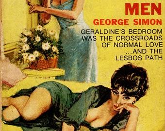 Lesbian pulp vintage art print Girls Without Men — pulp paperback cover repro