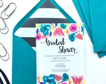 Custom Bridal Shower Invitation, Bridal Shower Invitation, Floral Bridal Shower Invite, Printed Invitations with Lined Envelopes