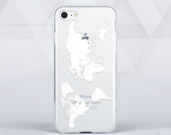 World Map iPhone 6 Case Clear iPhone 6 Plus Case iPhone 6S Case iPhone SE Case iPhone 5 Case for Samsung Galaxy S7 Case S5 Case c00065