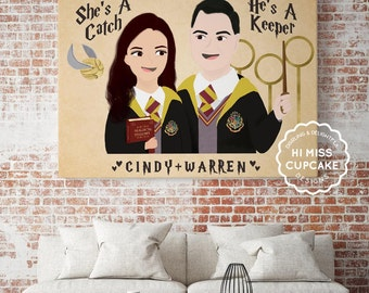 Engagement Gift for Couple - Personalized Couple Portrait - Newly Engaged Gift-Gift for Newlyweds-Custom Portrait-Movie Theme-Harry Potter