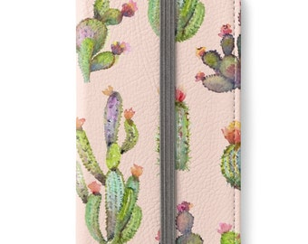 iPhone 6 Wallet, iPhone 6s Wallet, iPhone 6 Plus Wallet, iPhone 6s Plus Wallet, Cactus iPhone Wallet Case, Girlfriend Gift