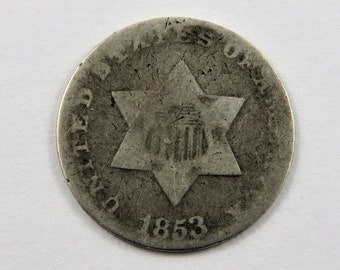 U.S. 1853 Silver 3 Cent Coin Type 1.