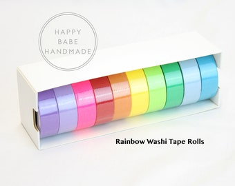 Rainbow Washi Tape, 10 Yards, Solid Washi Tape, Decorative Tape, Washi Tape, Masking Tape, Washi Tape Set, Scrapbook Tape, 1 or 10 Rolls