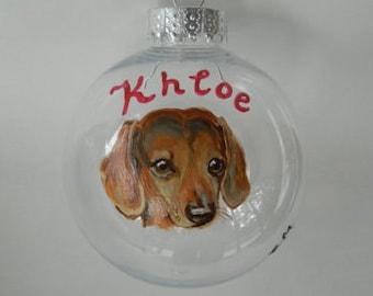 Custom Dog Portrait Ornament, handpainted pet ornament, dog custom painting, memorial pet, gift pet ornament Pet loss gift dog loss ornament