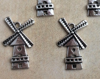 2 pieces Windmill Tibetan Silver fit Pendants bracelet beaded Charms 26x15mm
