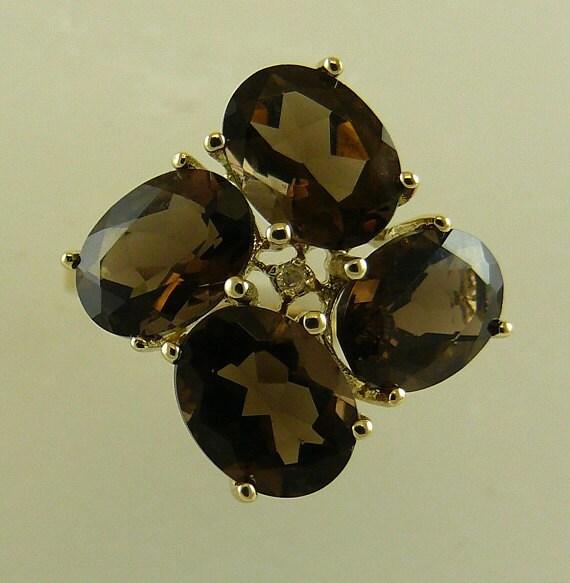 Smokey 4.15ct Topaz Ring With 14K Yellow Gold and Diamonds 0.008ct