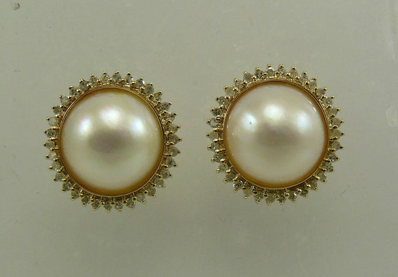 Mabe 12.0 mm Pearl Earrings with 14k Yellow Gold & Diamonds 0.54ct