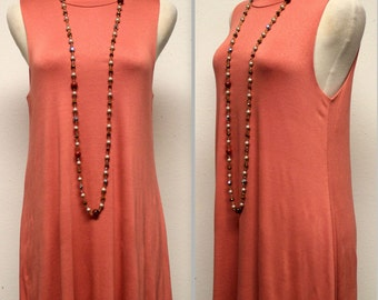 Sleeveless Tunic Top, Long Tunic, Adorable and Comfortable,  Coral Color, S, M, L