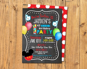 MICKEY MOUSE PARTY Invitations | Mickey Birthday Party | Mickey Mouse Clubhouse