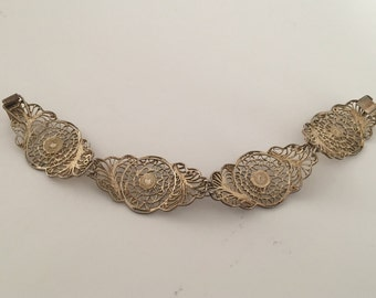 Silver Gilt Filigree Lacy Panel Link Bracelet
