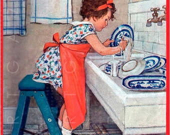 Adorable Little Girl Playing To Be A Housewife. Vintage Children Illustration. Jessie Willcox Smith Digital Download.