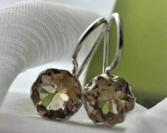 Incredible 2.5 ct. Citrine Earrings hooked on a Silver Caged Setting